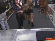 Young pawnshop babes giving double blowjob