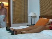 Thai hooker in a hotel room getting creampie fucked