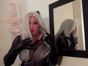 Masked blonde slut playing in bra