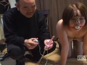 Curvy Japanese woman with nose hooks meets hot wax Subtitled