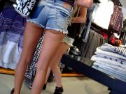 Two German Girls Shopping Hotpants Upskirt Great Ass Legs