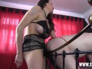 Femdom Strapon Jane fucks her thong wearing virgin gimps ass