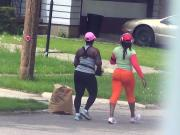 candid thick women on my street walking and running