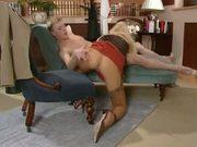 British slut Sammy Jayne gets fucked in stockings