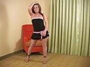 Talia Poses In Pink Flesh Pantyhose Then Masturbates
