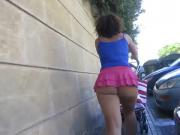 Magaluf cheeky pink mini skirt in public