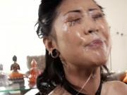 Korean girl's face covered in spit from face fucking