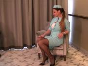 Elegant Voluptuous Stewardess Makes It Herself