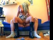 German Blonde with Drecksau-Fuck on Couch