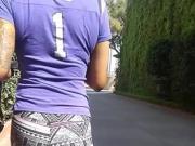 Small ebony booty in leggings