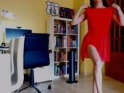 A summer strip-tease with my chiffon coral dress, top-less