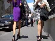 Paris Purple dress black heels
