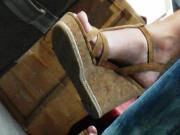 blond granny in wedges heels