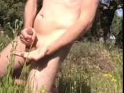 Me wanking and cumming outdoors in Greece
