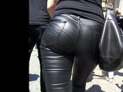 leather leggings blonde
