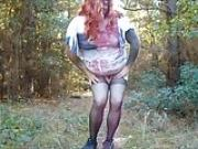 Crossdresser Exibitionist Shows Off in the Forest