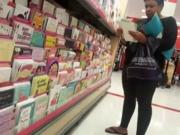 Ebony older woman candid shopping