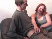 Redhead German babe sucking cock