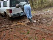 Cowboy boots slipping in mud