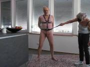 Severe cock and ball whipping with dressing whipp by my lady