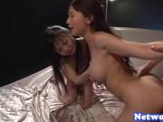 Gorgeous asian beauties screwed in threeway