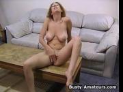 Busty amateur Liliana masturbates her pussy