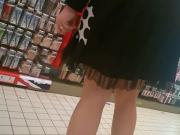 Woman with nice skirt and high heels, very beautiful legs