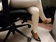 candid secretary in heels