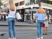 Girl wait for tram 7