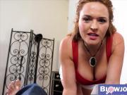 Redhead pornstar MILF sucks and gets titty fucked by stepson