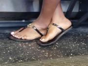 Candid ebony feet on bus
