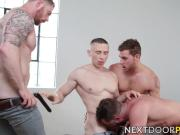 Muscular studs has his holes stretched by three inked studs