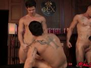 Handsome muscular studs have fun during raw group fucking