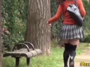 Asian babe pisses outside