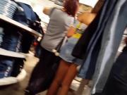 Candid voyeur hot teen in short skirt