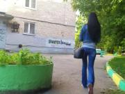 russian brunette walk in the park