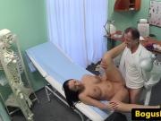 Busty babe pussyfucked on desk by her doctor