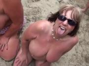 Nude Beach - Matures Bukake Party