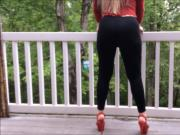 Sheer Black Leggings and Red High Heels