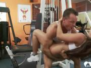 Training in the gym and relaxing on cock.mp4