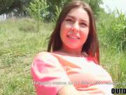 Cute brunette Ally getting her tight cunt stuffed outdoors