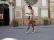 Julie skyhigh walks and tease in minishort public flashing
