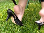 Shoeplay With Black Slingbacks