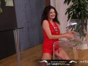 Sexy Girl Peeing- Francesca splashes feet in her piss puddle