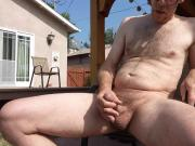 Jerking in backyard with cumshot