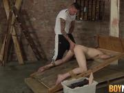 Twink Levi Stephans endures rough anal play while bound
