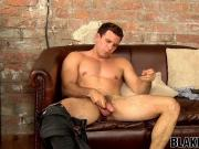 Kinky hunk Jay Dee tugs big cock until cumming solo