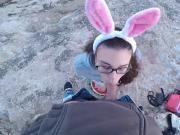 Bunny Girl Walk & Make Blowjob On The Wild :