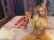 blonde bimbo fake tit slut fists her ass and gapes huge ATM
