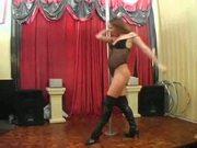 British slut Kira pole dances